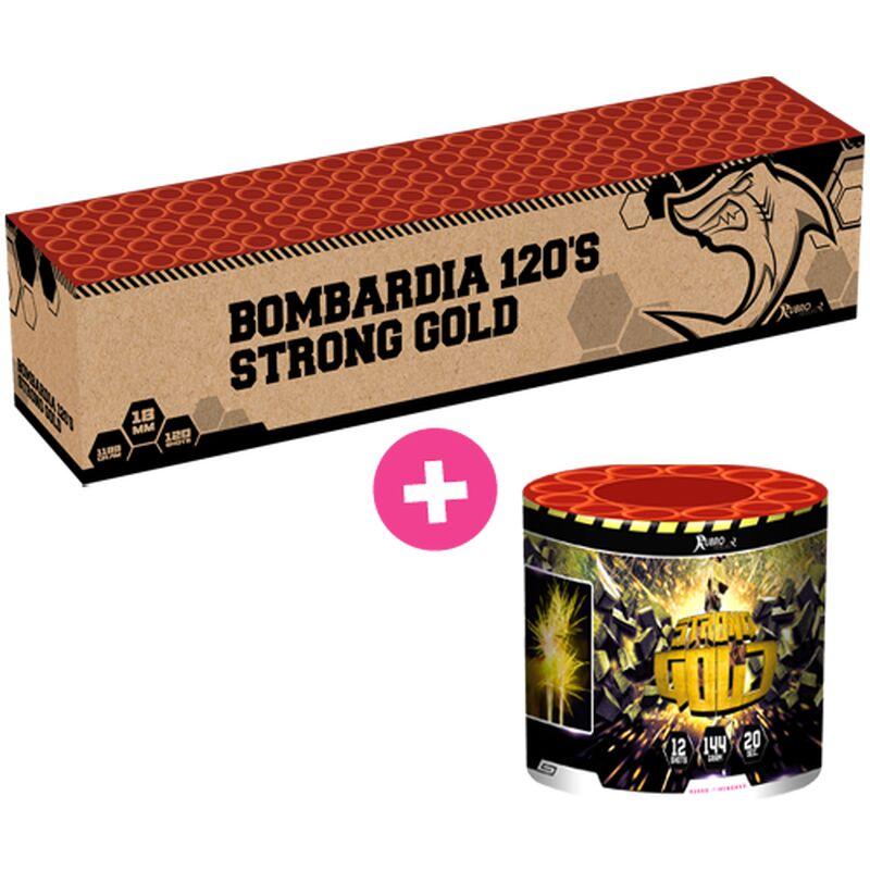 Bombardia + Strong Gold 132-Schuss-Feuerwerkverbund von Geisha-Rubro kaufen